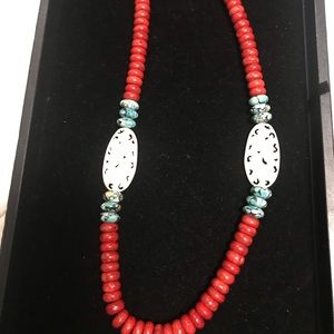 Jewelry - Coral, Turquoise and bone necklace